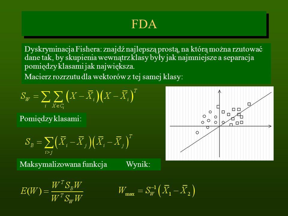 FDA Dyskryminacja Fishera: znajdź najlepszą prostą, na którą można rzutować dane tak, by skupienia wewnątrz klasy były jak najmniejsze a separacja pom