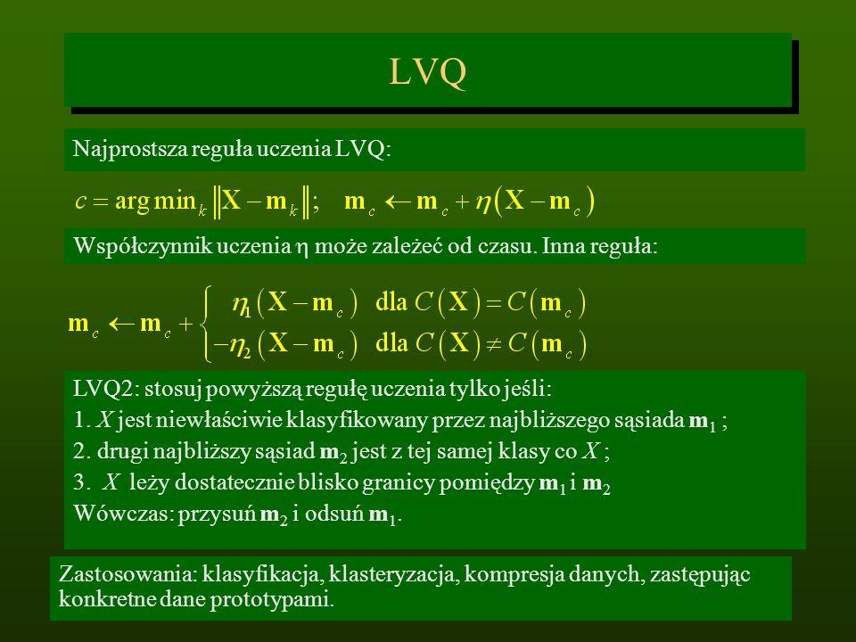 LVQ Najprostsza reguła uczenia LVQ: Współczynnik uczenia może zależeć od czasu. Inna reguła: Zastosowania: klasyfikacja, klasteryzacja, kompresja dany