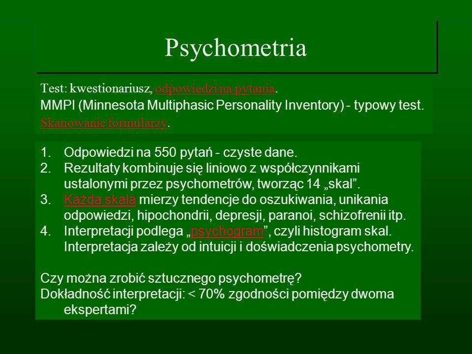 Psychometria Test: kwestionariusz, odpowiedzi na pytania.odpowiedzi na pytania MMPI (Minnesota Multiphasic Personality Inventory) - typowy test. Skano