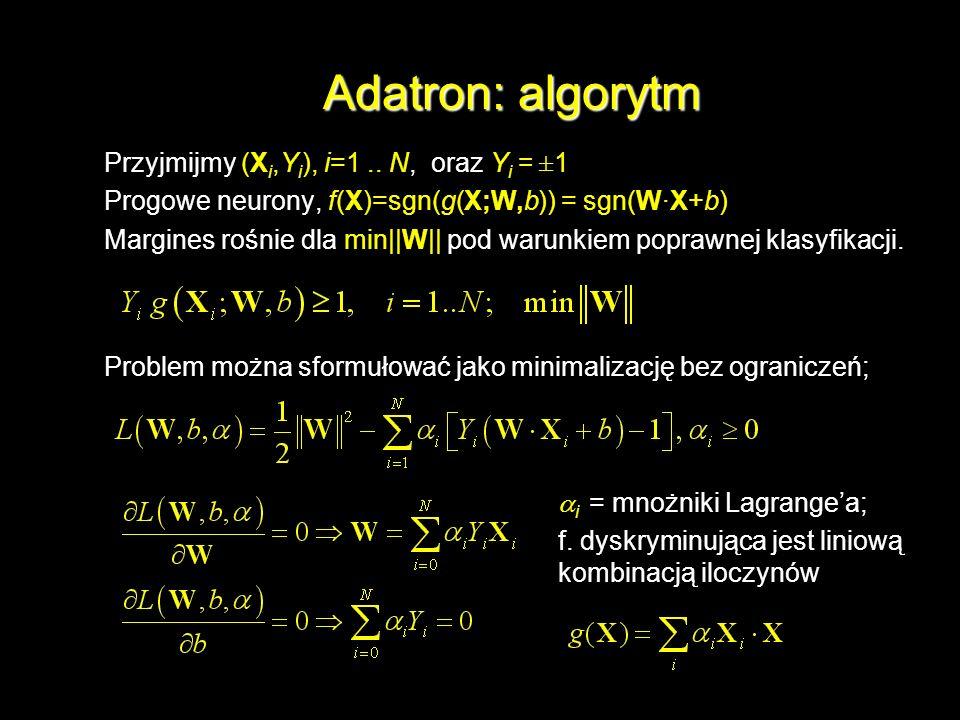 Adatron: algorytm Przyjmijmy (X i,Y i ), i=1.. N, oraz Y i = ±1 Progowe neurony, f(X)=sgn(g(X;W,b)) = sgn(W·X+b) Margines rośnie dla min||W|| pod waru