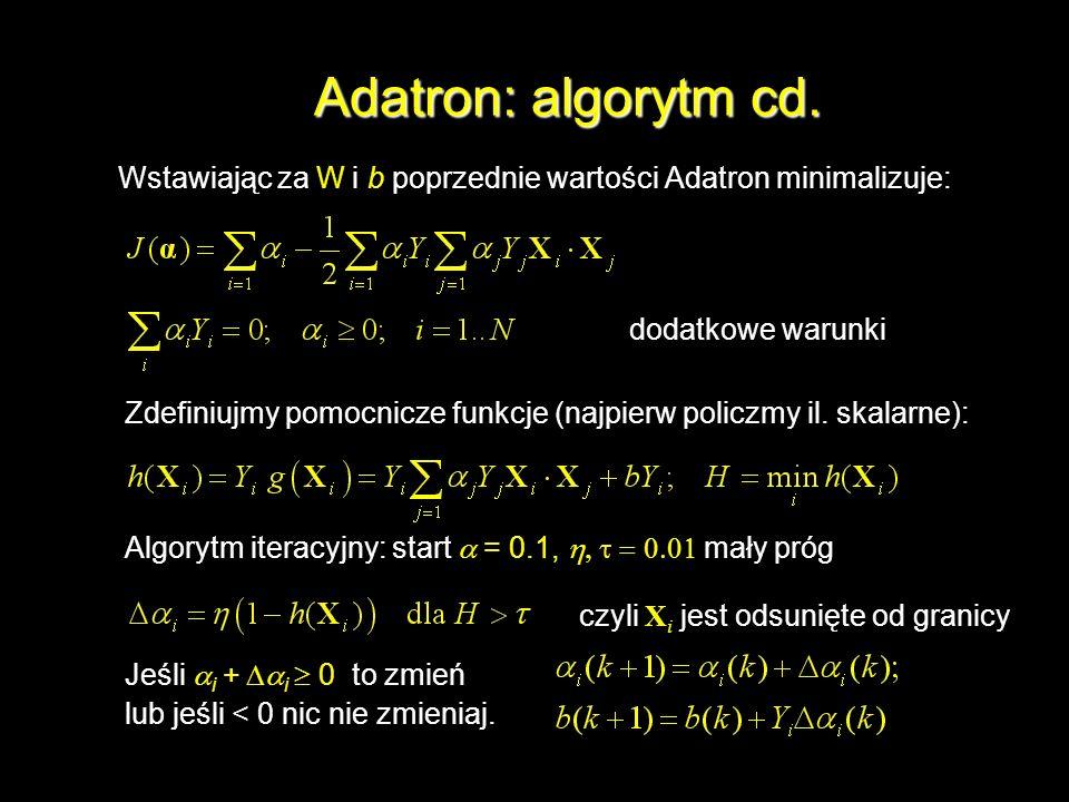 Adatron: algorytm cd. Wstawiając za W i b poprzednie wartości Adatron minimalizuje: Zdefiniujmy pomocnicze funkcje (najpierw policzmy il. skalarne): A