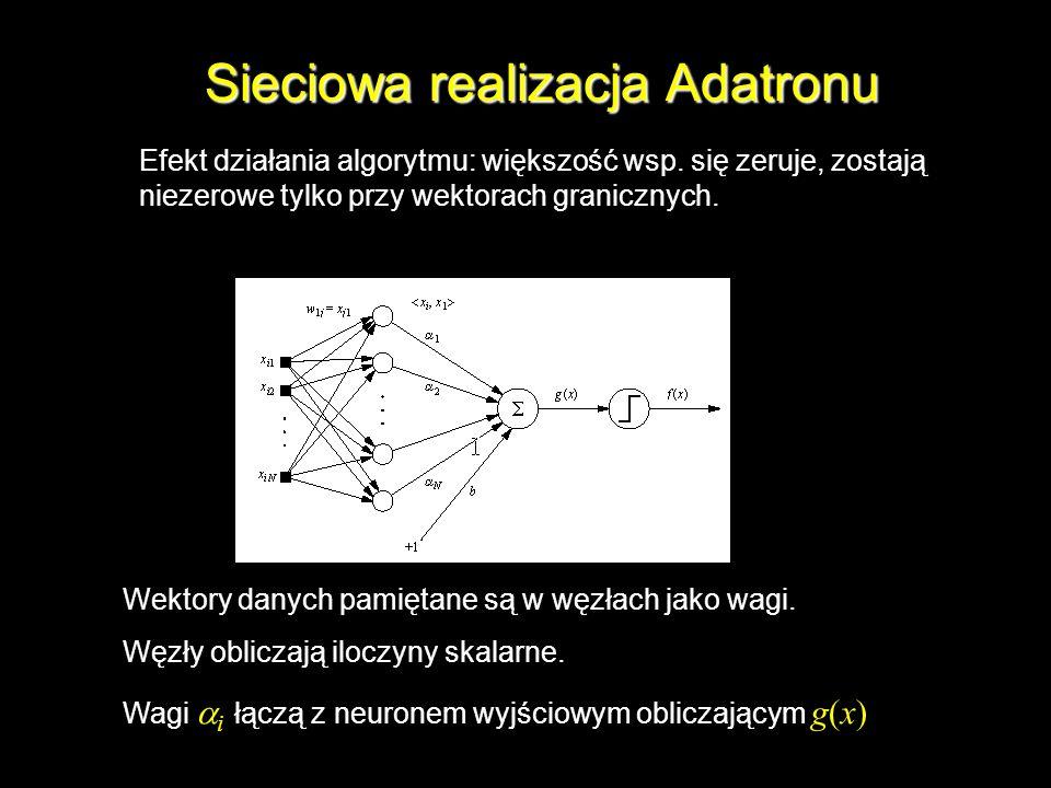 Sieciowa realizacja Adatronu Wektory danych pamiętane są w węzłach jako wagi. Węzły obliczają iloczyny skalarne. Wagi i łączą z neuronem wyjściowym ob