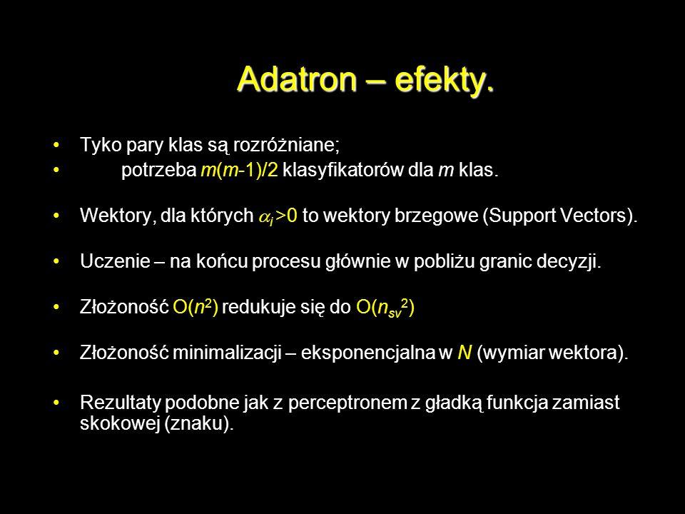 Adatron – efekty. Tyko pary klas są rozróżniane; potrzeba m(m-1)/2 klasyfikatorów dla m klas. Wektory, dla których i >0 to wektory brzegowe (Support V