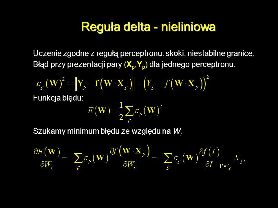 Reguła delta - nieliniowa Uczenie zgodne z regułą perceptronu: skoki, niestabilne granice. Błąd przy prezentacji pary (X p,Y p ) dla jednego perceptro