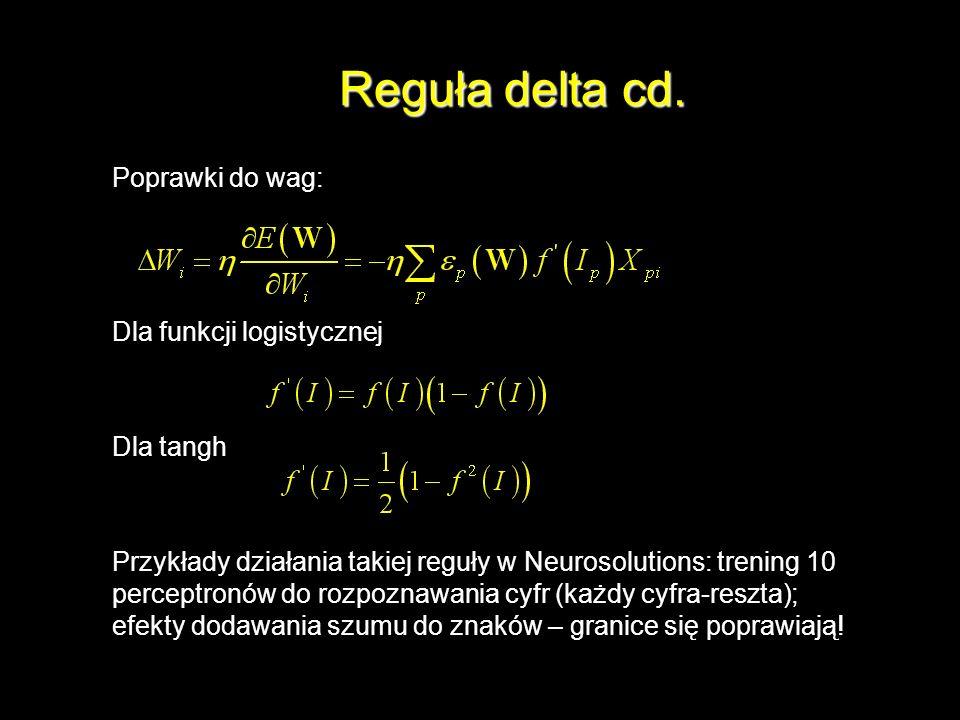 Reguła delta cd. Poprawki do wag: Dla funkcji logistycznej Dla tangh Przykłady działania takiej reguły w Neurosolutions: trening 10 perceptronów do ro