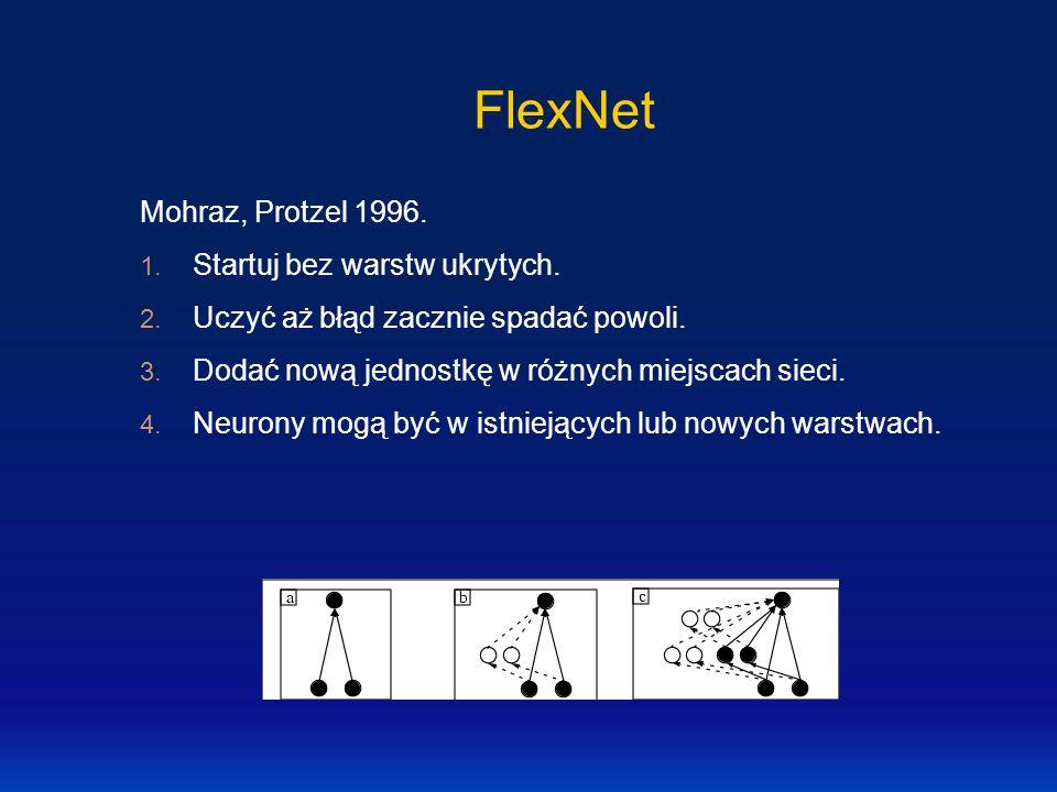 FlexNet Mohraz, Protzel 1996. 1. Startuj bez warstw ukrytych. 2. Uczyć aż błąd zacznie spadać powoli. 3. Dodać nową jednostkę w różnych miejscach siec
