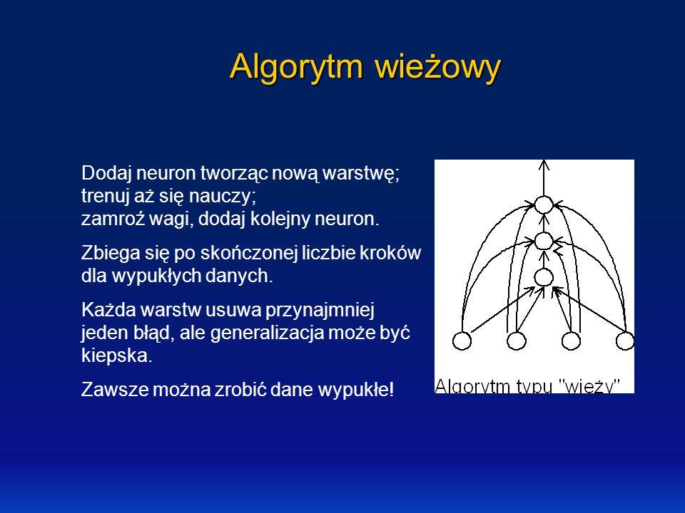 Algorytm wieżowy Dodaj neuron tworząc nową warstwę; trenuj aż się nauczy; zamroź wagi, dodaj kolejny neuron. Zbiega się po skończonej liczbie kroków d
