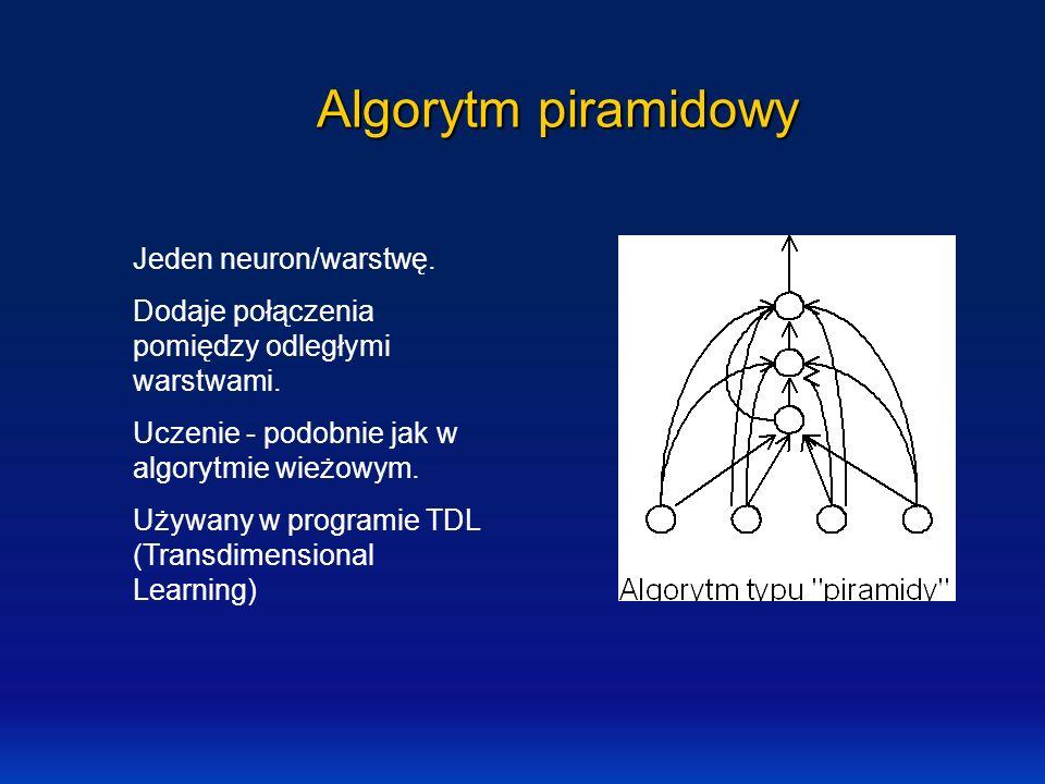 Algorytm piramidowy Jeden neuron/warstwę. Dodaje połączenia pomiędzy odległymi warstwami. Uczenie - podobnie jak w algorytmie wieżowym. Używany w prog