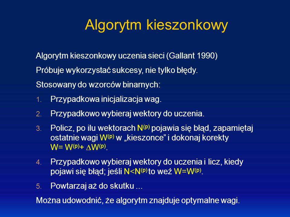 Algorytm kieszonkowy Algorytm kieszonkowy uczenia sieci (Gallant 1990) Próbuje wykorzystać sukcesy, nie tylko błędy. Stosowany do wzorców binarnych: 1