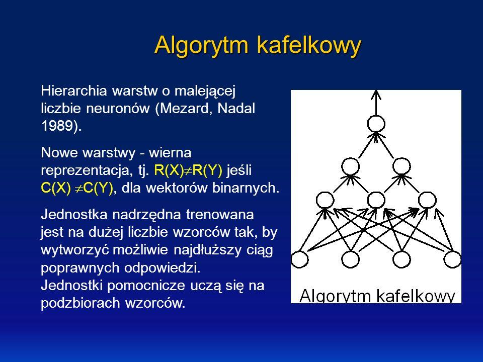 Algorytm kafelkowy Hierarchia warstw o malejącej liczbie neuronów (Mezard, Nadal 1989). Nowe warstwy - wierna reprezentacja, tj. R(X) R(Y) jeśli C(X)