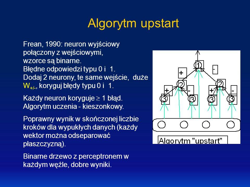 Algorytm upstart Frean, 1990: neuron wyjściowy połączony z wejściowymi, wzorce są binarne. Błędne odpowiedzi typu 0 i 1. Dodaj 2 neurony, te same wejś