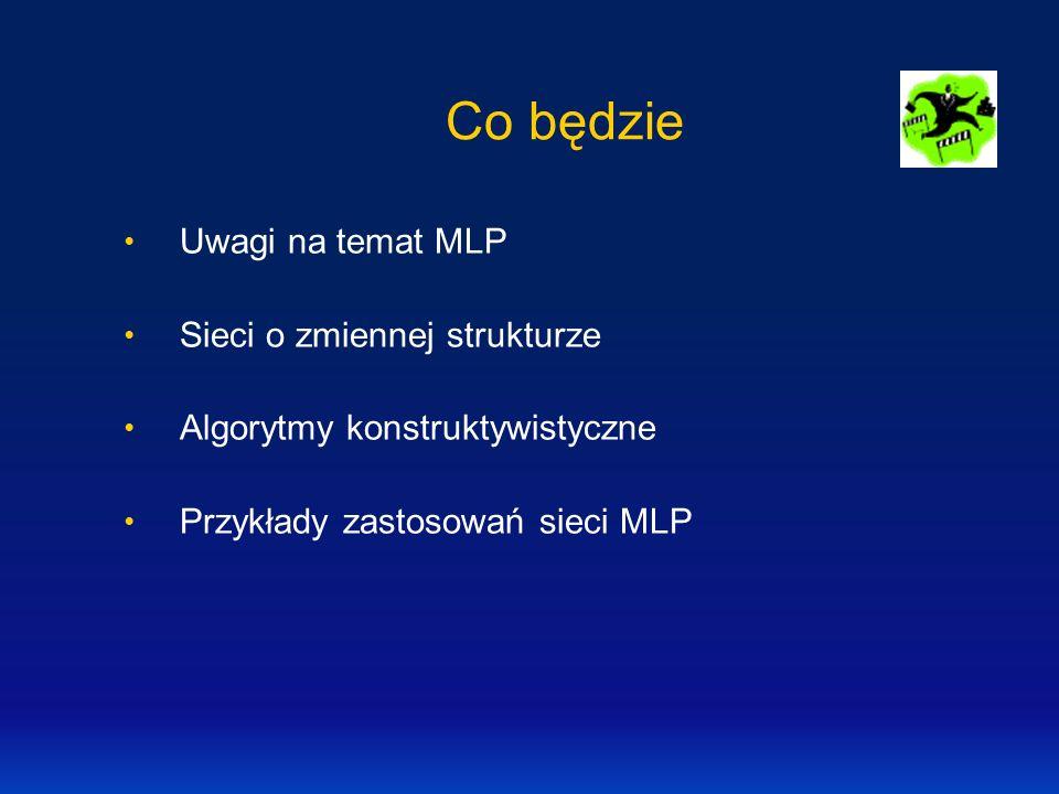 Co będzie Uwagi na temat MLP Sieci o zmiennej strukturze Algorytmy konstruktywistyczne Przykłady zastosowań sieci MLP