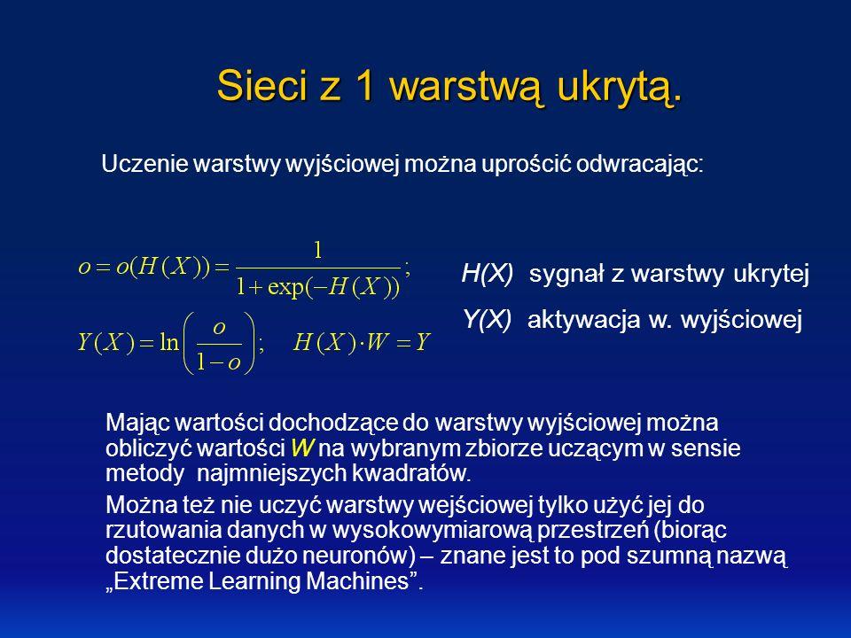 Sieci z 1 warstwą ukrytą. Uczenie warstwy wyjściowej można uprościć odwracając: Mając wartości dochodzące do warstwy wyjściowej można obliczyć wartośc