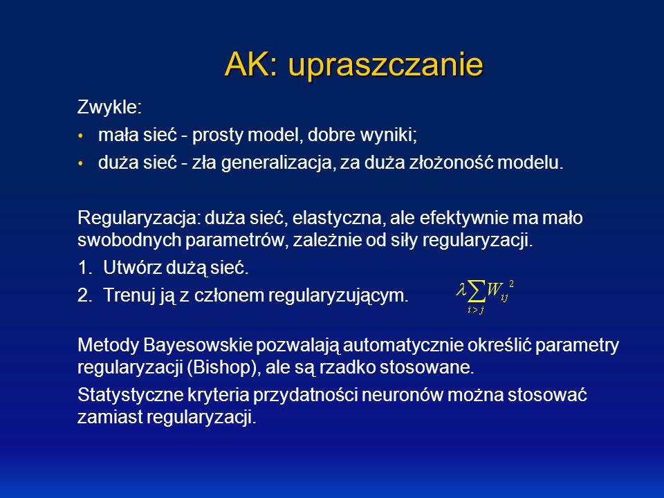 AK: upraszczanie Zwykle: mała sieć - prosty model, dobre wyniki; duża sieć - zła generalizacja, za duża złożoność modelu. Regularyzacja: duża sieć, el