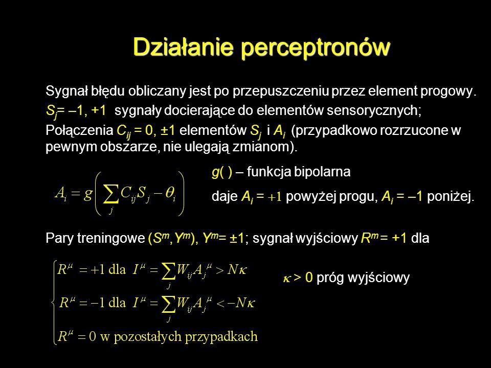 Działanie perceptronów Sygnał błędu obliczany jest po przepuszczeniu przez element progowy. S j = –1, +1 sygnały docierające do elementów sensorycznyc