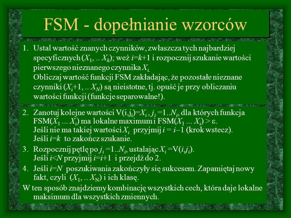 FSM - dopełnianie wzorców 1.Ustal wartość znanych czynników, zwłaszcza tych najbardziej specyficznych (X 1,.. X k ); weź i=k+1 i rozpocznij szukanie w