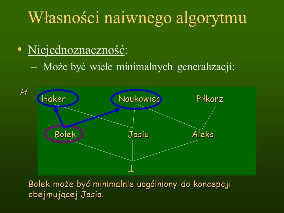 Własności naiwnego algorytmu Bolek Jasiu Aleks HakerNaukowiecPiłkarz H Niejednoznaczność: – Może być wiele minimalnych generalizacji: Bolek może być m
