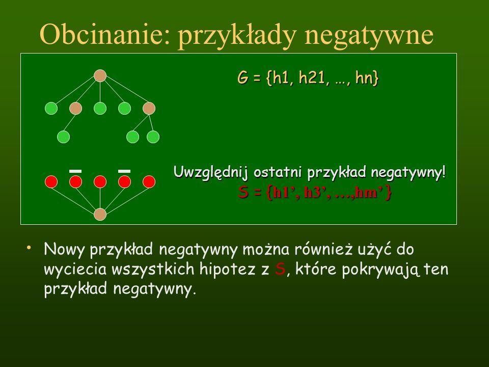 Obcinanie: przykłady negatywne Nowy przykład negatywny można również użyć do wyciecia wszystkich hipotez z S, które pokrywają ten przykład negatywny.