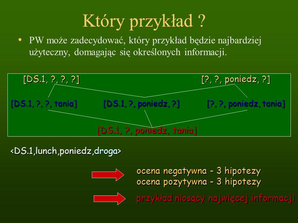 Który przykład ? PW może zadecydować, który przykład będzie najbardziej użyteczny, domagając się określonych informacji. [DS.1, ?, ?, ?] [?, ?, ponied
