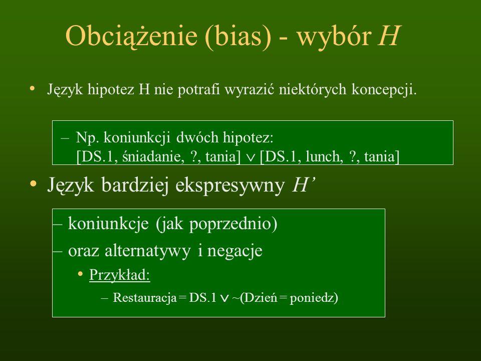 Obciążenie (bias) - wybór H Język hipotez H nie potrafi wyrazić niektórych koncepcji. –Np. koniunkcji dwóch hipotez: [DS.1, śniadanie, ?, tania] [DS.1