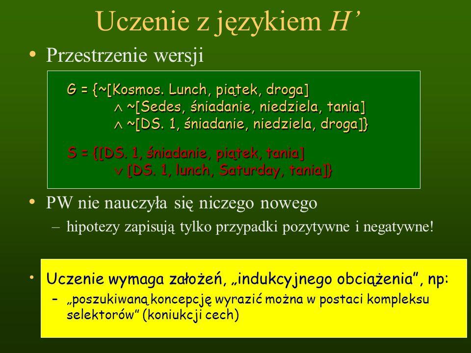 Uczenie z językiem H Przestrzenie wersji G = {~[Kosmos. Lunch, piątek, droga] ~[Sedes, śniadanie, niedziela, tania] ~[Sedes, śniadanie, niedziela, tan
