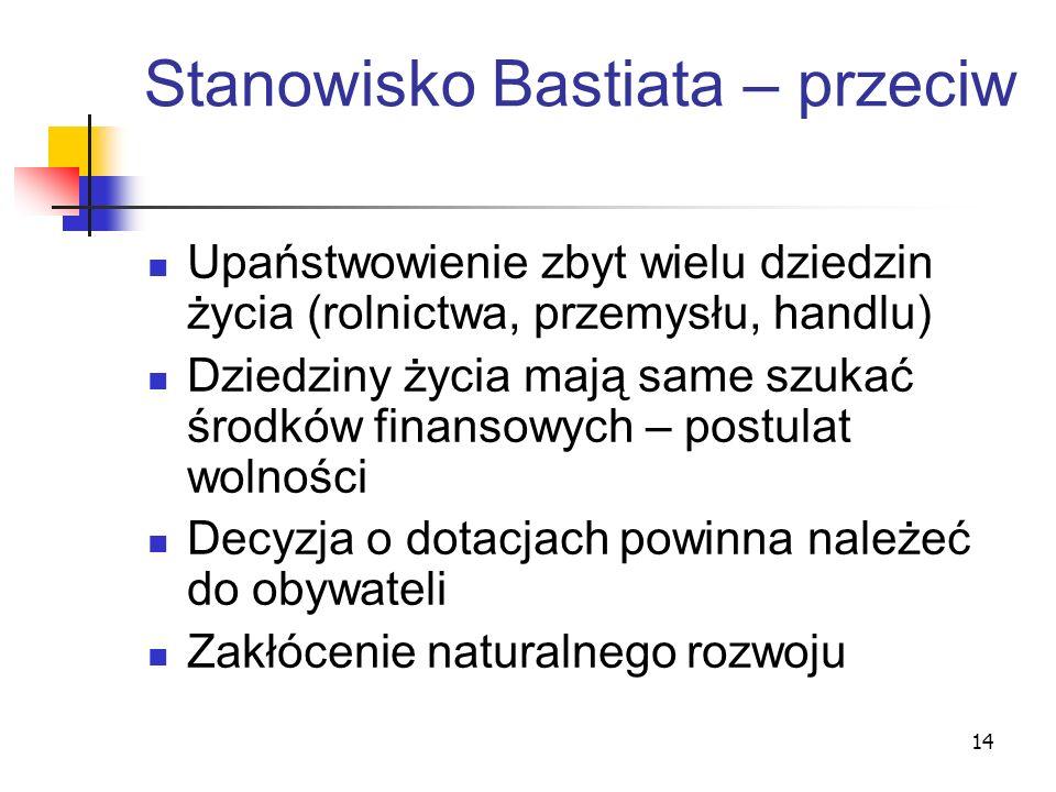 14 Stanowisko Bastiata – przeciw Upaństwowienie zbyt wielu dziedzin życia (rolnictwa, przemysłu, handlu) Dziedziny życia mają same szukać środków fina