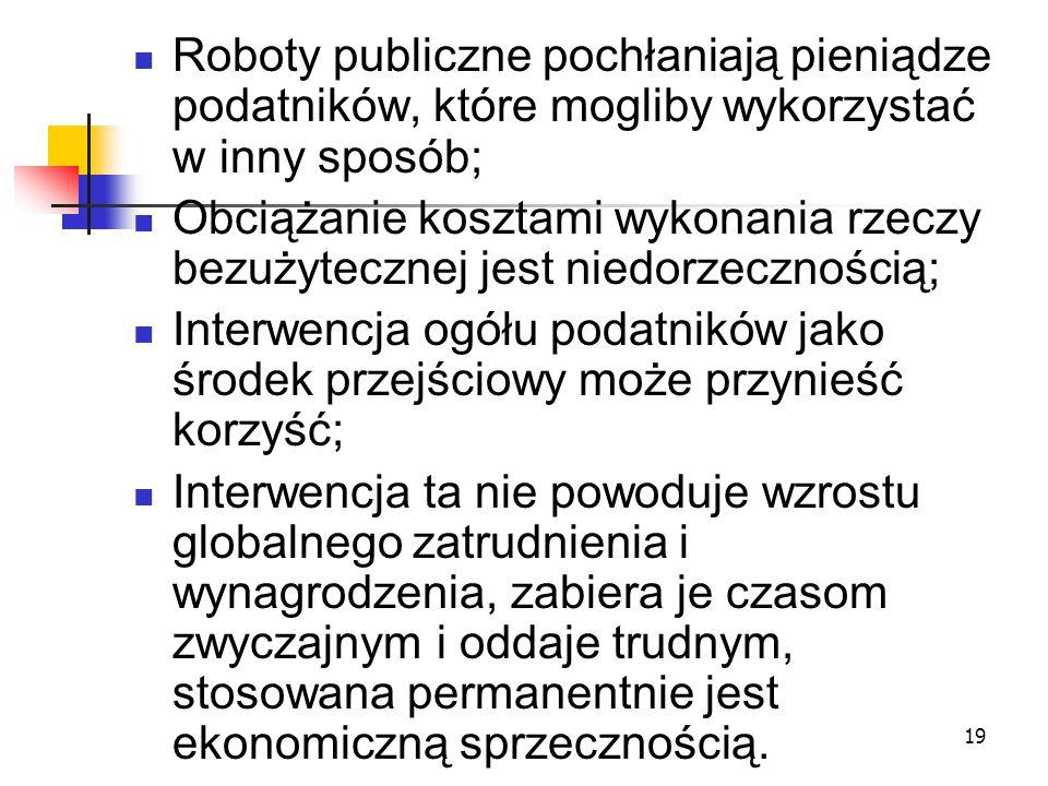 19 Roboty publiczne pochłaniają pieniądze podatników, które mogliby wykorzystać w inny sposób; Obciążanie kosztami wykonania rzeczy bezużytecznej jest