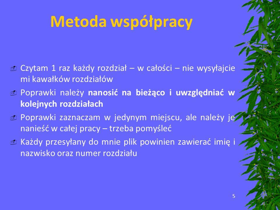5 Metoda współpracy Czytam 1 raz każdy rozdział – w całości – nie wysyłajcie mi kawałków rozdziałów Poprawki należy nanosić na bieżąco i uwzględniać w