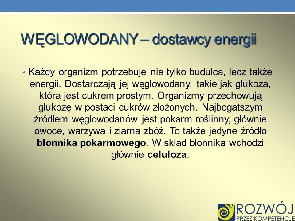 WĘGLOWODANY – dostawcy energii Każdy organizm potrzebuje nie tylko budulca, lecz także energii. Dostarczają jej węglowodany, takie jak glukoza, która