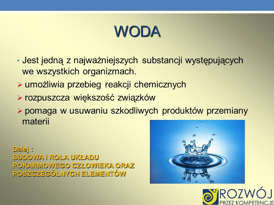 WODA Jest jedną z najważniejszych substancji występujących we wszystkich organizmach. umożliwia przebieg reakcji chemicznych rozpuszcza większość zwią