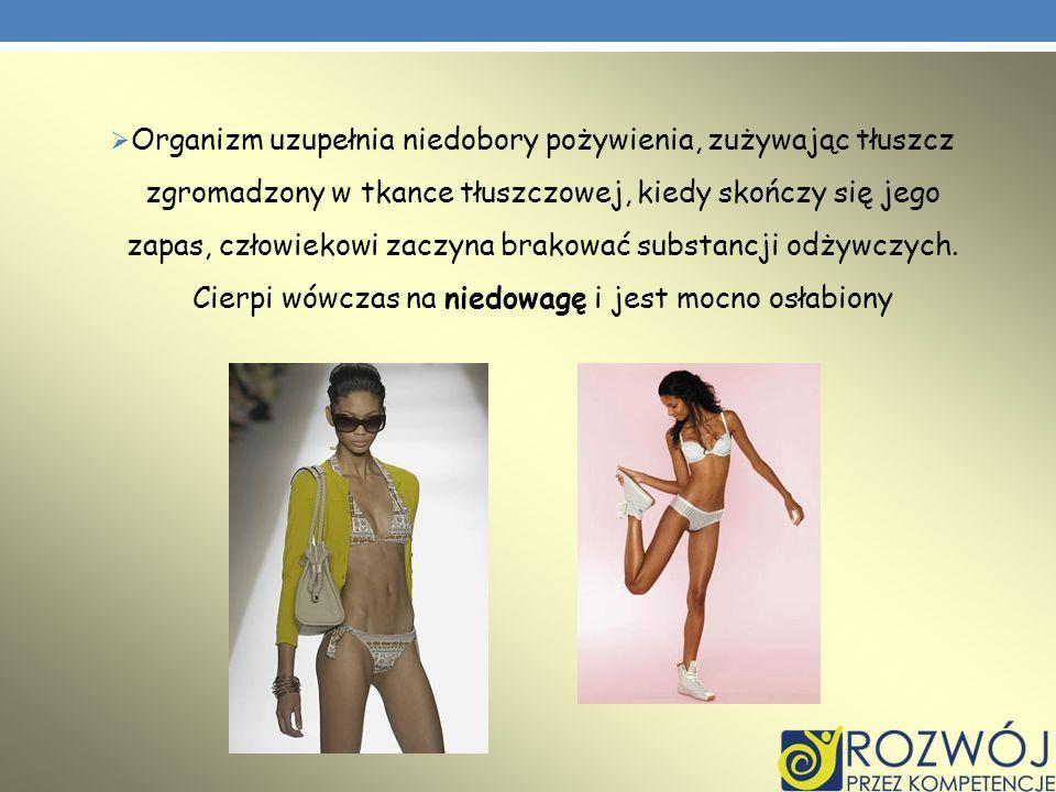 Organizm uzupełnia niedobory pożywienia, zużywając tłuszcz zgromadzony w tkance tłuszczowej, kiedy skończy się jego zapas, człowiekowi zaczyna brakowa