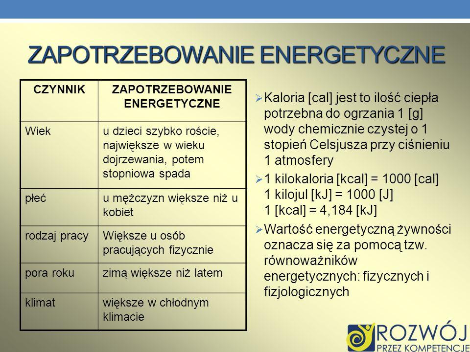 ZAPOTRZEBOWANIE ENERGETYCZNE Kaloria [cal] jest to ilość ciepła potrzebna do ogrzania 1 [g] wody chemicznie czystej o 1 stopień Celsjusza przy ciśnien