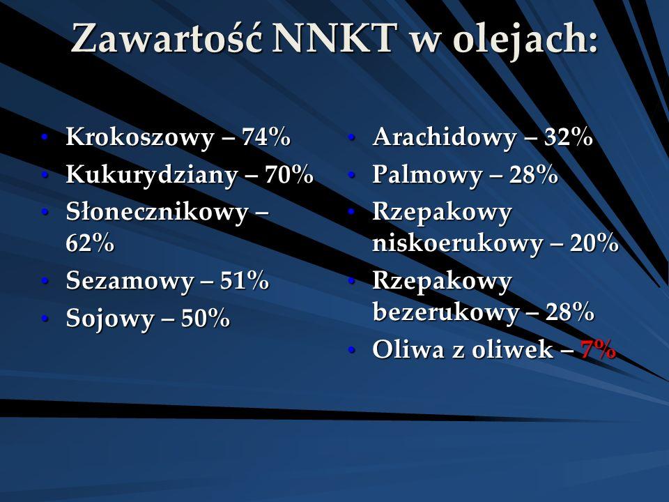 Zawartość NNKT w olejach: Krokoszowy – 74% Krokoszowy – 74% Kukurydziany – 70% Kukurydziany – 70% Słonecznikowy – 62% Słonecznikowy – 62% Sezamowy – 5