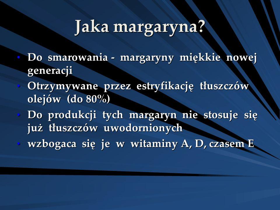 Jaka margaryna? Do smarowania - margaryny miękkie nowej generacji Do smarowania - margaryny miękkie nowej generacji Otrzymywane przez estryfikację tłu