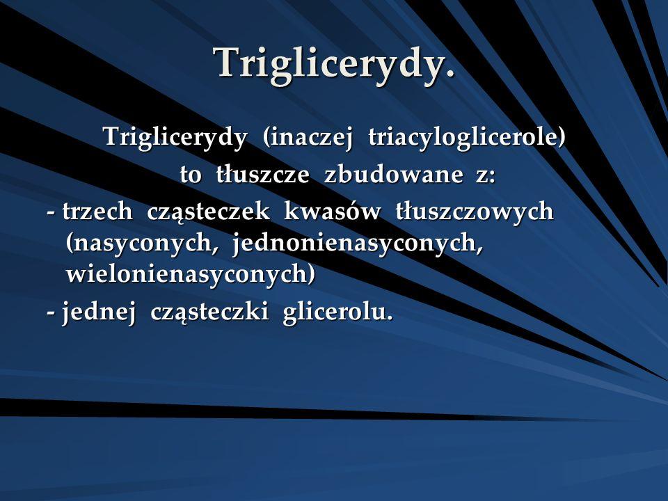 Triglicerydy. Triglicerydy (inaczej triacyloglicerole) to tłuszcze zbudowane z: to tłuszcze zbudowane z: - trzech cząsteczek kwasów tłuszczowych (nasy