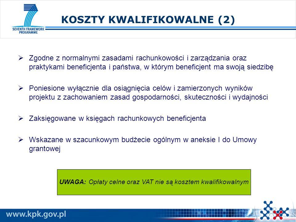 KOSZTY KWALIFIKOWALNE (2) Zgodne z normalnymi zasadami rachunkowości i zarządzania oraz praktykami beneficjenta i państwa, w którym beneficjent ma swo