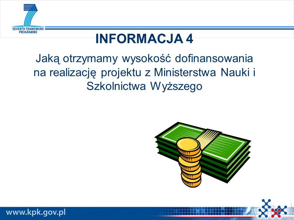 INFORMACJA 4 Jaką otrzymamy wysokość dofinansowania na realizację projektu z Ministerstwa Nauki i Szkolnictwa Wyższego