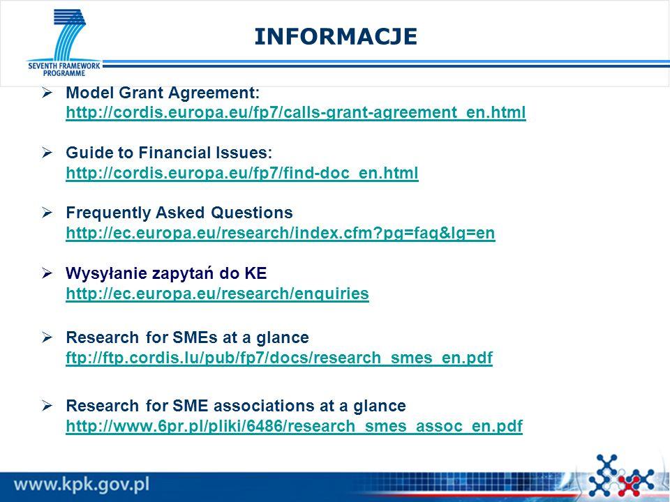 INFORMACJA 3 Jaką otrzymamy wysokość dofinansowania z KE ?