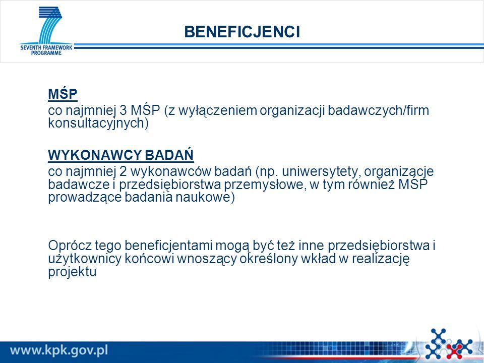 BENEFICJENCI MŚP co najmniej 3 MŚP (z wyłączeniem organizacji badawczych/firm konsultacyjnych) WYKONAWCY BADAŃ co najmniej 2 wykonawców badań (np. uni