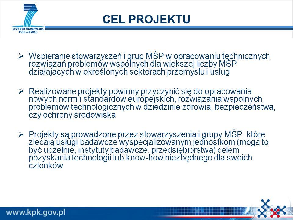 CEL PROJEKTU Wspieranie stowarzyszeń i grup MŚP w opracowaniu technicznych rozwiązań problemów wspólnych dla większej liczby MŚP działających w określ