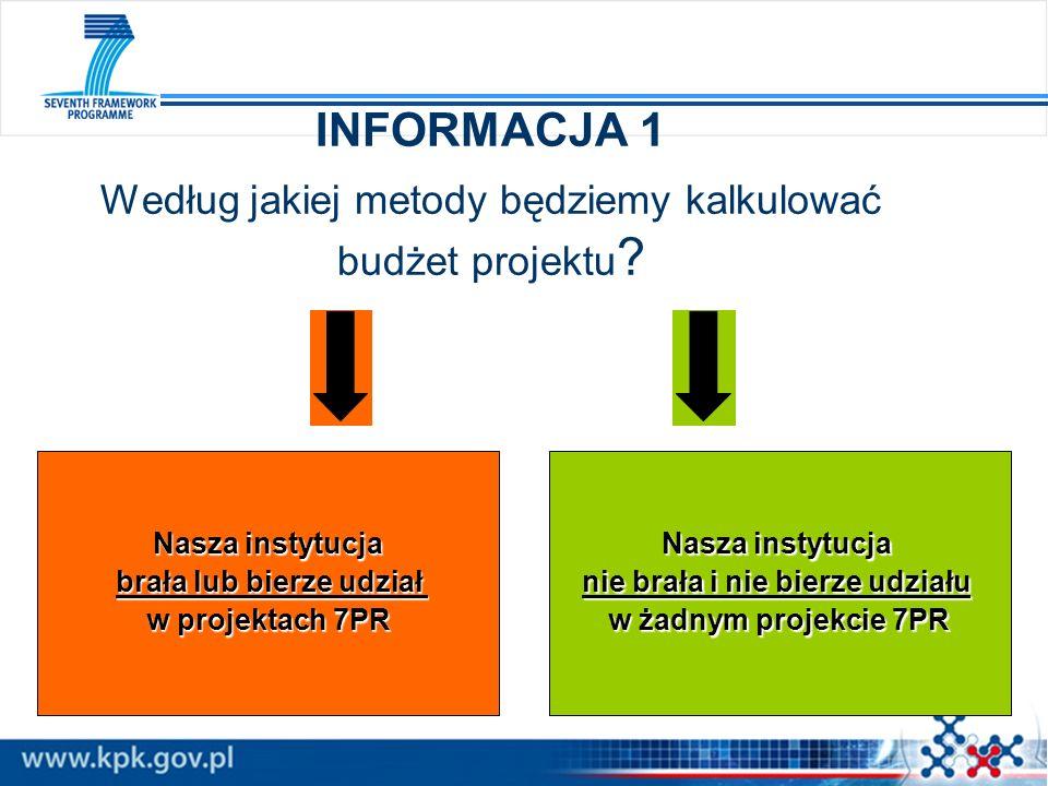 INFORMACJA 1 Według jakiej metody będziemy kalkulować budżet projektu ? Nasza instytucja brała lub bierze udział brała lub bierze udział w projektach