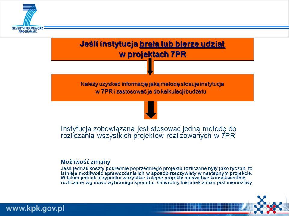 Instytucja zobowiązana jest stosować jedną metodę do rozliczania wszystkich projektów realizowanych w 7PR Możliwość zmiany Jeśli jednak koszty pośredn