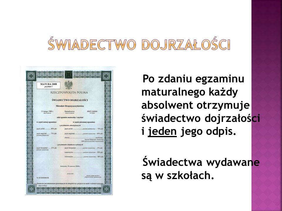 Po zdaniu egzaminu maturalnego każdy absolwent otrzymuje świadectwo dojrzałości i jeden jego odpis. Świadectwa wydawane są w szkołach. 29