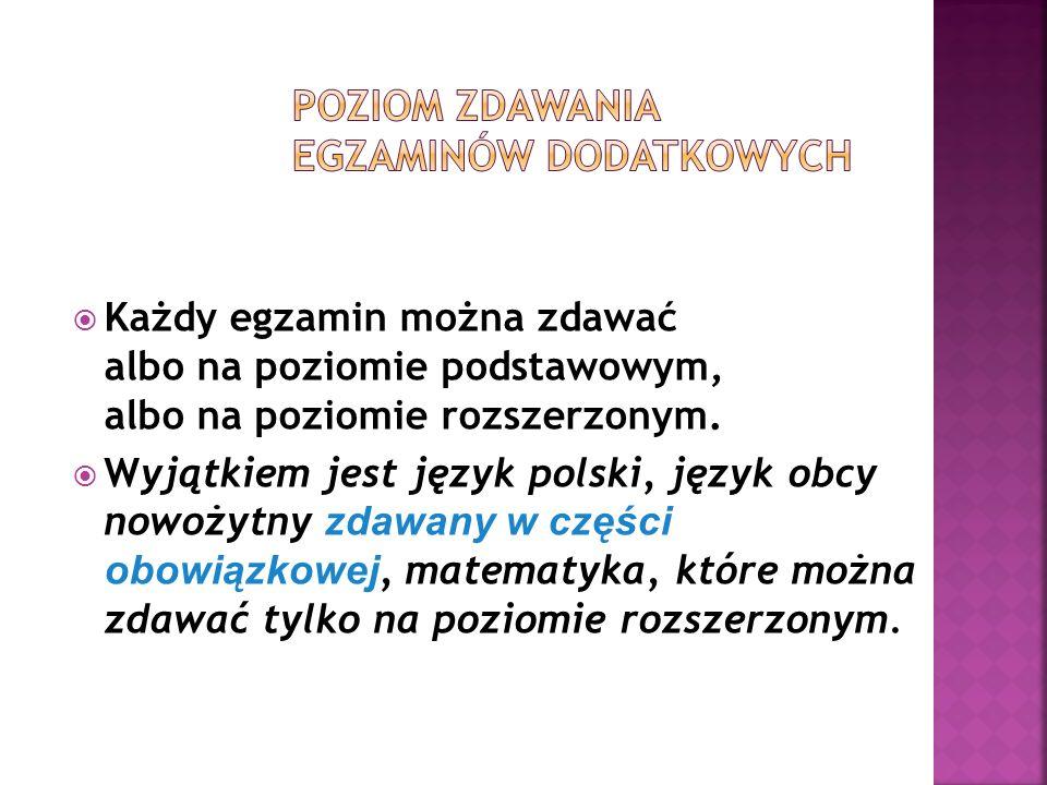 8 Obowiązkowe: Język polski egz.ustny/pisemny Język obcy egz.