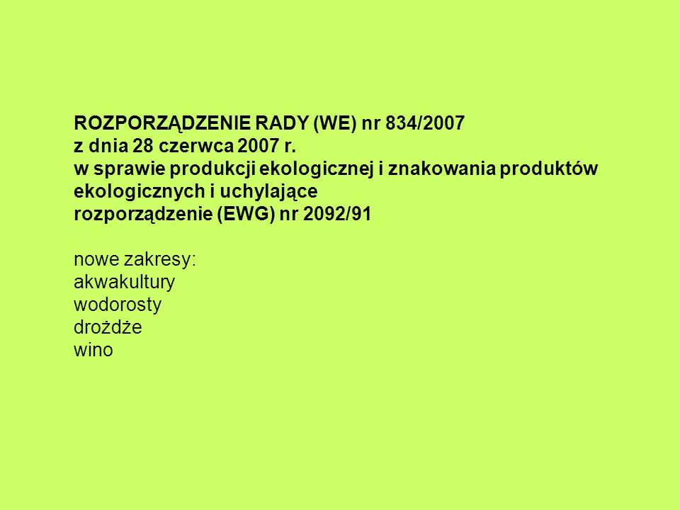ROZPORZĄDZENIE RADY (WE) nr 834/2007 z dnia 28 czerwca 2007 r. w sprawie produkcji ekologicznej i znakowania produktów ekologicznych i uchylające rozp