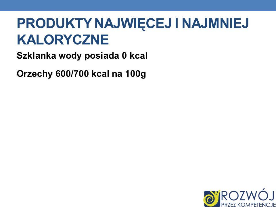 PRODUKTY NAJWIĘCEJ I NAJMNIEJ KALORYCZNE Szklanka wody posiada 0 kcal Orzechy 600/700 kcal na 100g