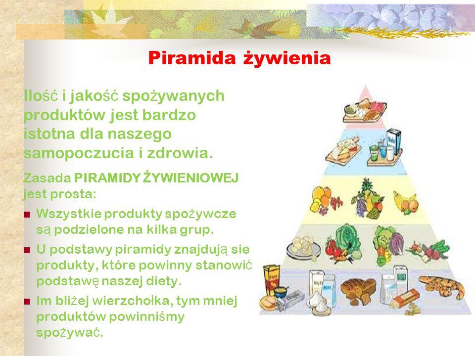 Piramida żywienia Ilo ść i jako ść spo ż ywanych produktów jest bardzo istotna dla naszego samopoczucia i zdrowia. Zasada PIRAMIDY Ż YWIENIOWEJ jest p