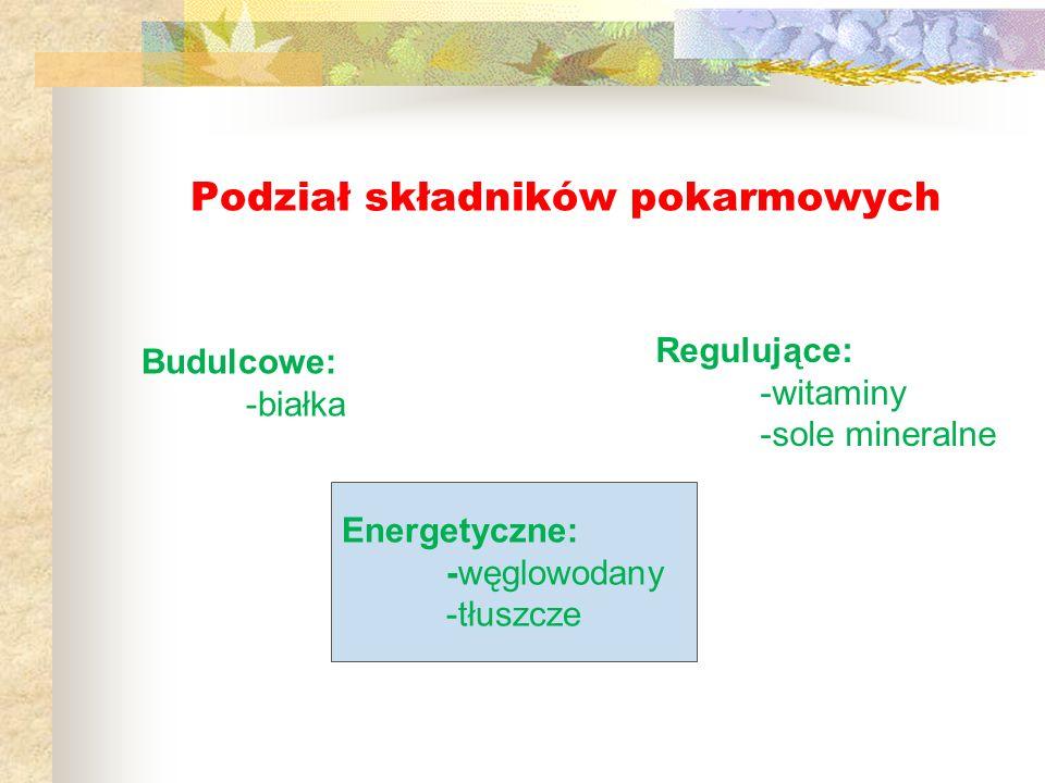 Podział składników pokarmowych Budulcowe: -białka Energetyczne: -węglowodany -tłuszcze Regulujące: -witaminy -sole mineralne