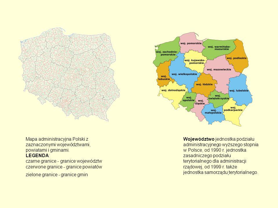 Mapa administracyjna Polski z zaznaczonymi województwami, powiatami i gminami. LEGENDA: czarne granice - granice województw czerwone granice - granice