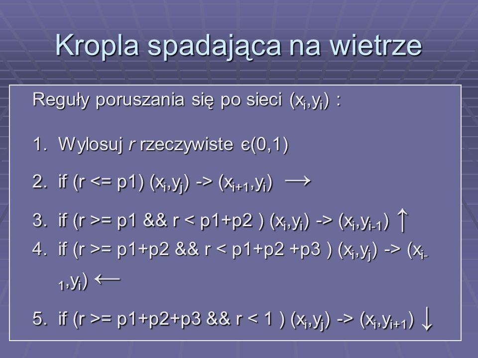Kropla spadająca na wietrze Reguły poruszania się po sieci (x i,y i ) : 1.Wylosuj r rzeczywiste є(0,1) 2.if (r (x i+1,y i ) 2.if (r (x i+1,y i ) 3.if